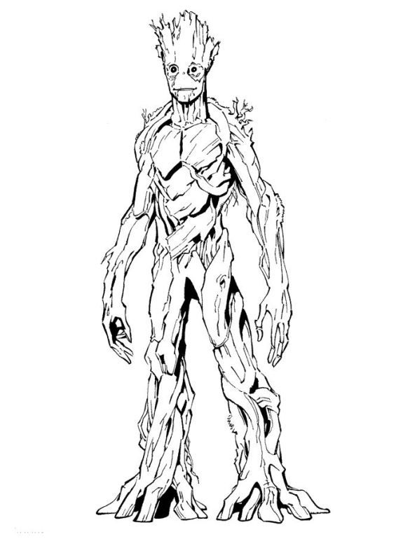 Coloring page Guardians of the Galaxy groot | Desenhos ...