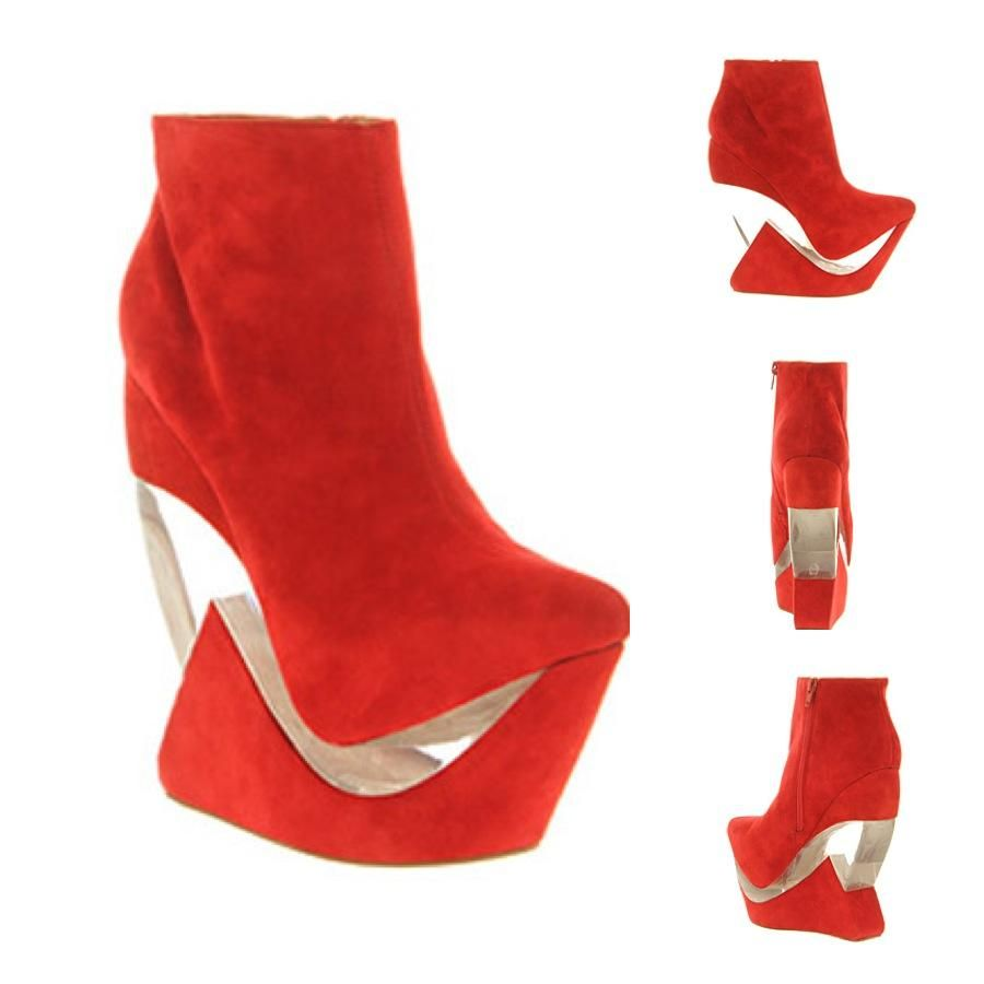 Jeffrey Campbell Red Suede Zoom Wedge