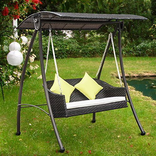 Perfect Outsunny Garden Rattan Swing Chair Outdoor Swinging Hammock Bench Bed Lounger Fire Retardant Foam Brown New