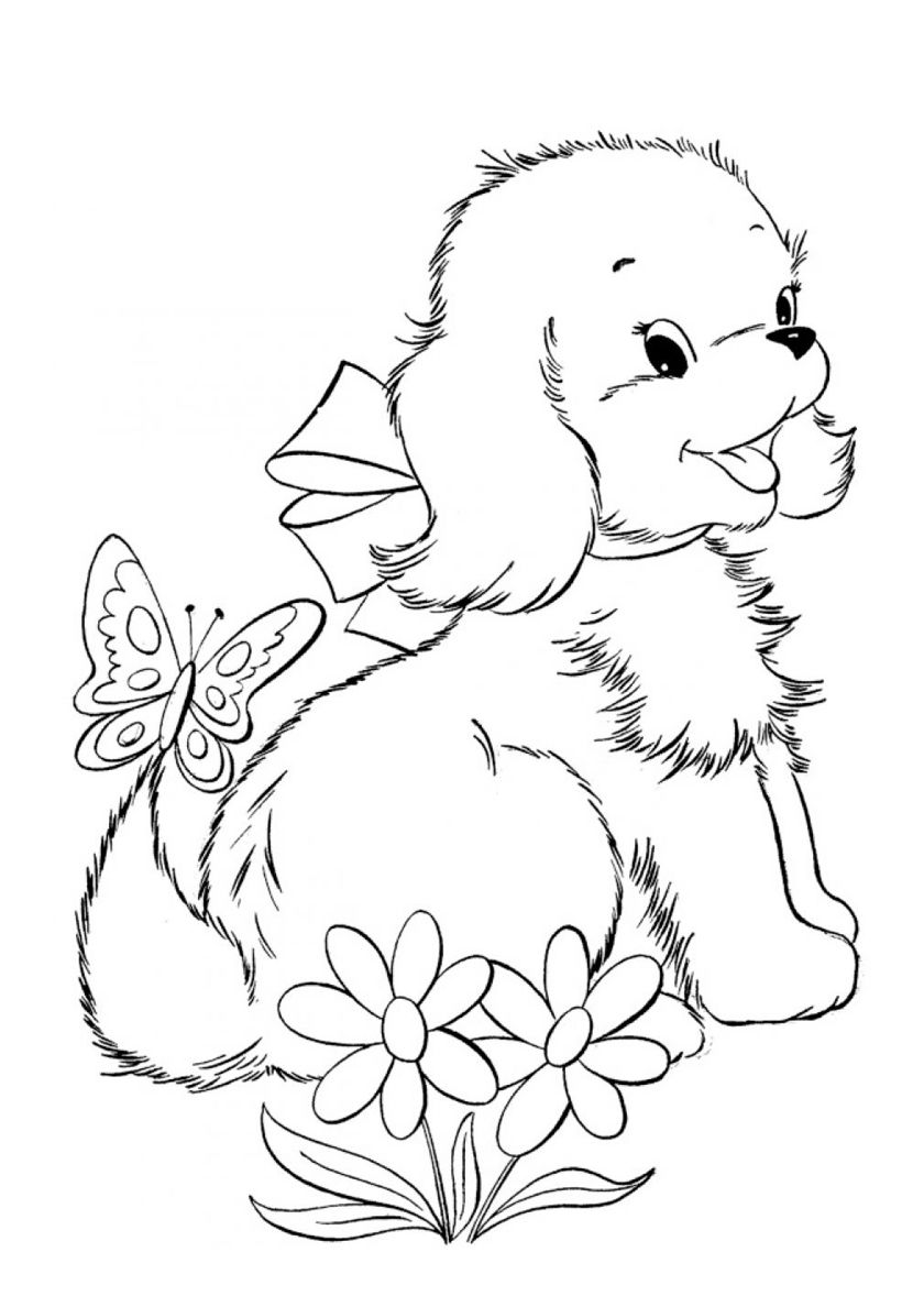 Bolognese Is Glad To Meet A Butterfly High Quality Free Coloring Page From The Category Dogs An Puppy Coloring Pages Animal Coloring Pages Dog Coloring Page [ 1188 x 840 Pixel ]