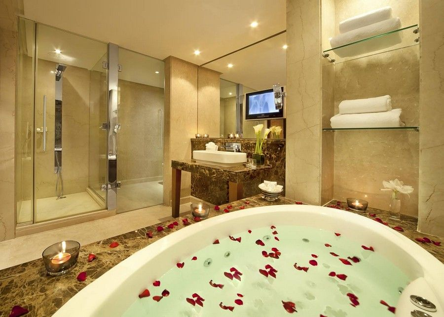luxury hotel bathroom interior design near bahrain from gulf along with rose petals guest room design for modern hotel home decorations accessories bed