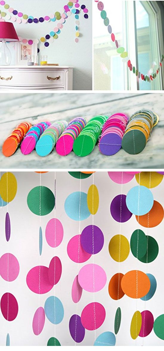 2 Pack Circle Dots Paper Garland Easy Spring Room Decor Ideas