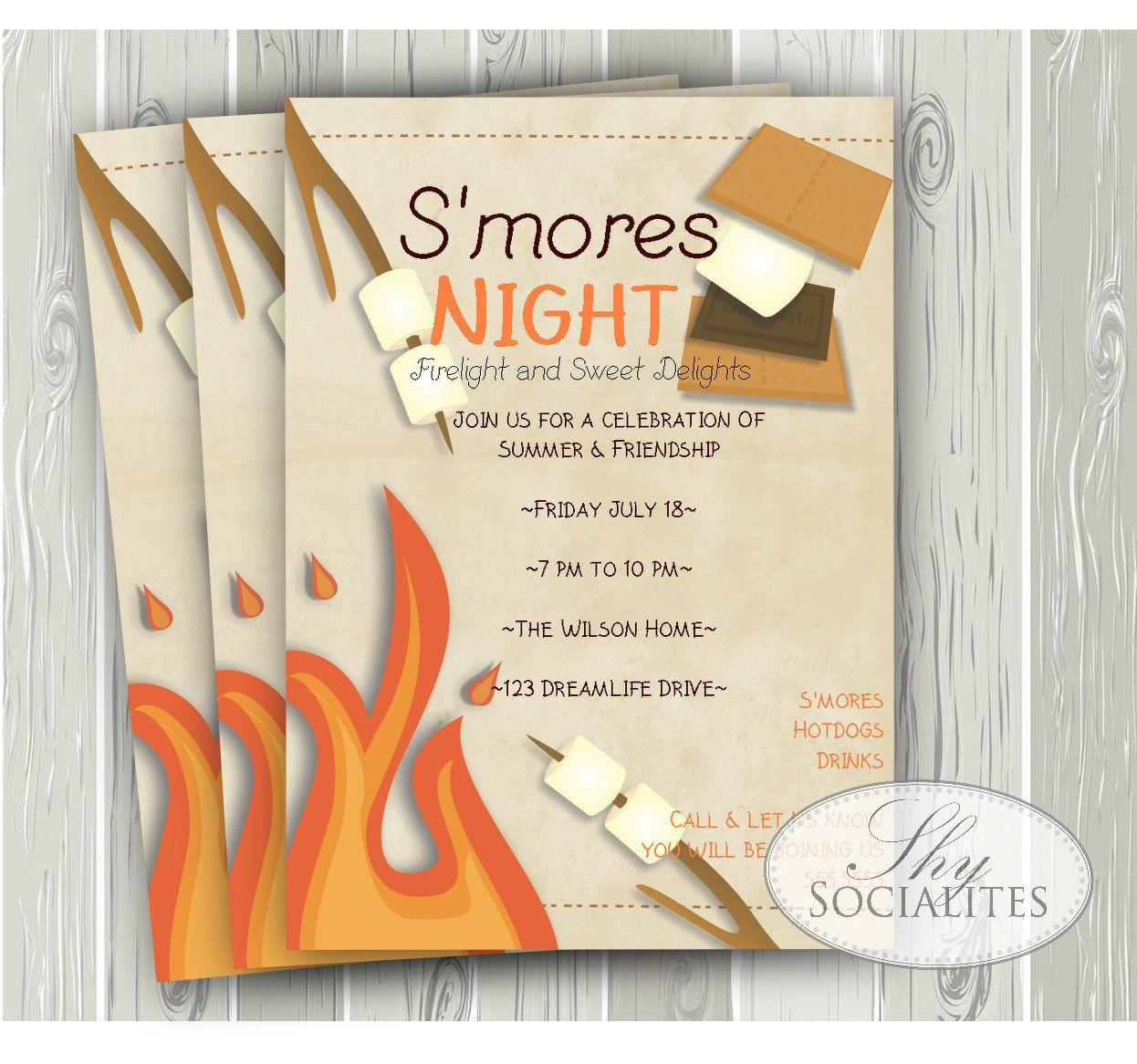 Smores Invitation Camping By ShySocialites