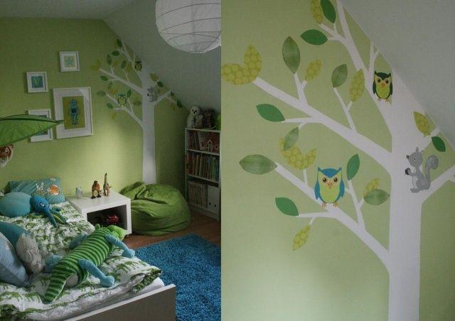 Wandfarben Ideen Kinderzimmer Dachschrage Junge Pastellgrun Deko Baume