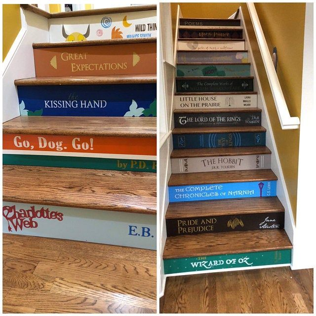 Carved Wood Stair Risers Stair Ideas Stamped Leather: Wood Stair Riser / Alternative To Vinyl Stair Decals