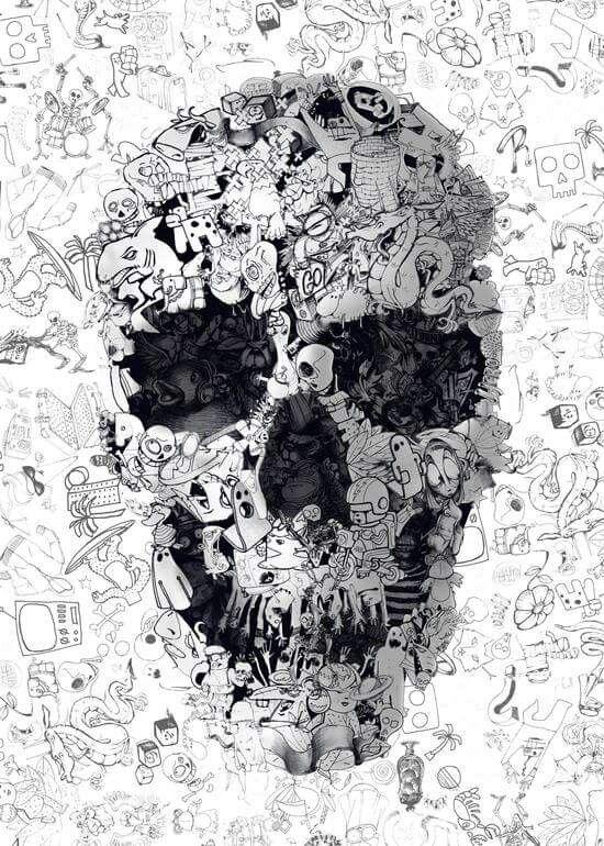 White And Black Skull Illustration Skull Wallpaper Skull Art