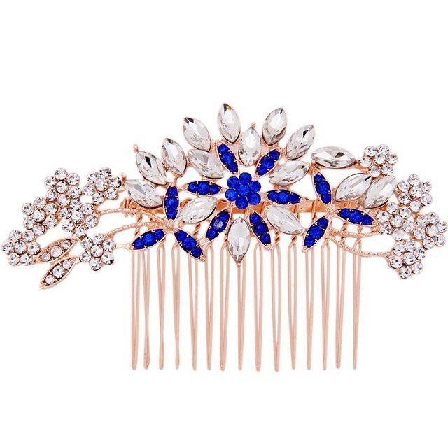 Crystal Hair Comb Rose Gold Blue Petal Kayla Gold Hair