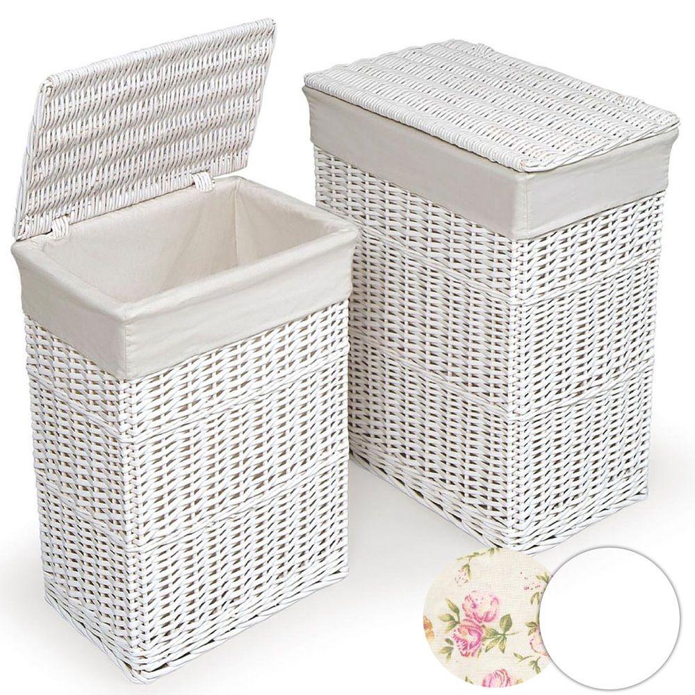 Large Medium Rectangular White Wicker Laundry Basket W Lid Hamper Bin Storage
