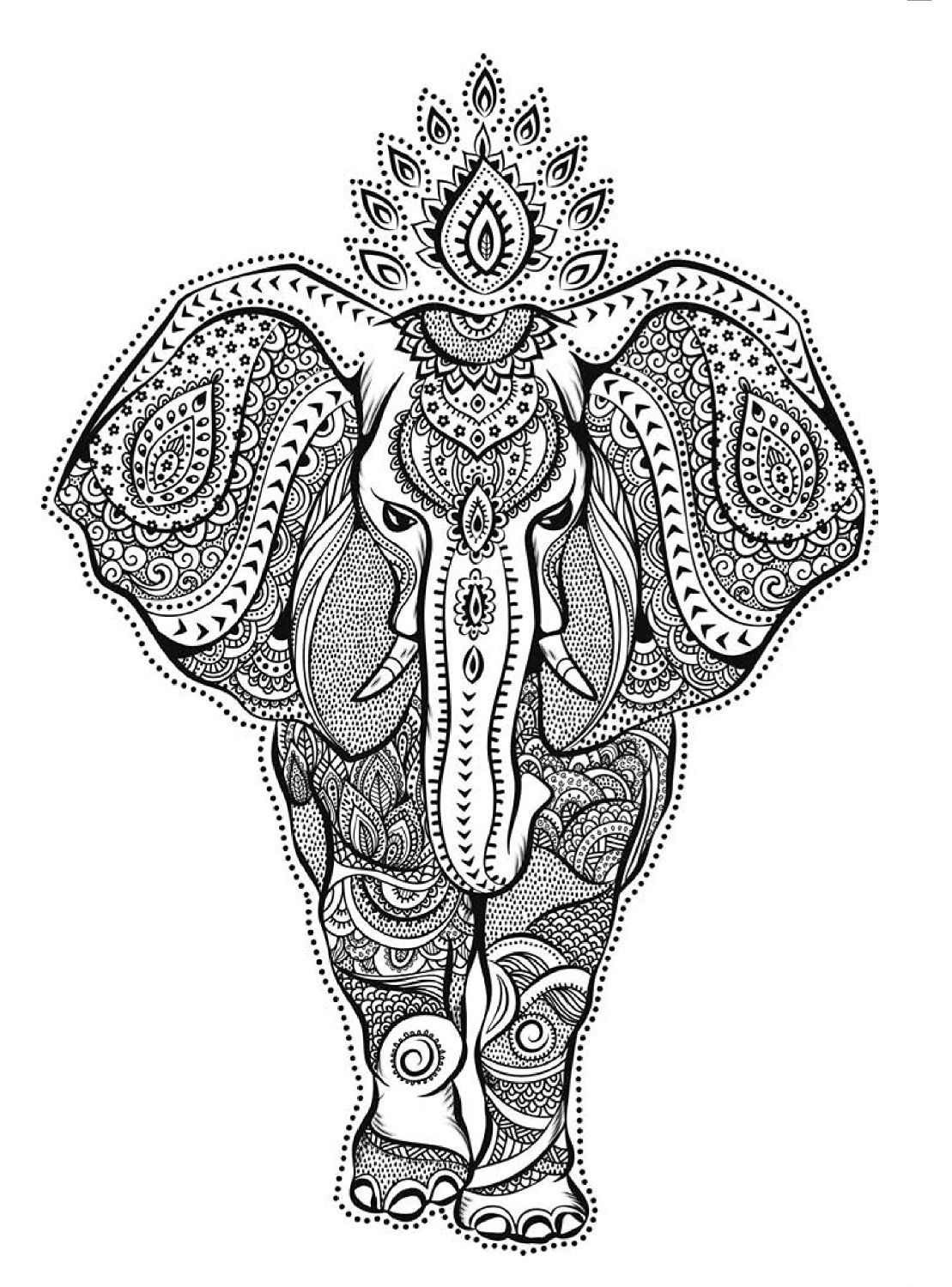 hippie elephant coloring pages - photo#15