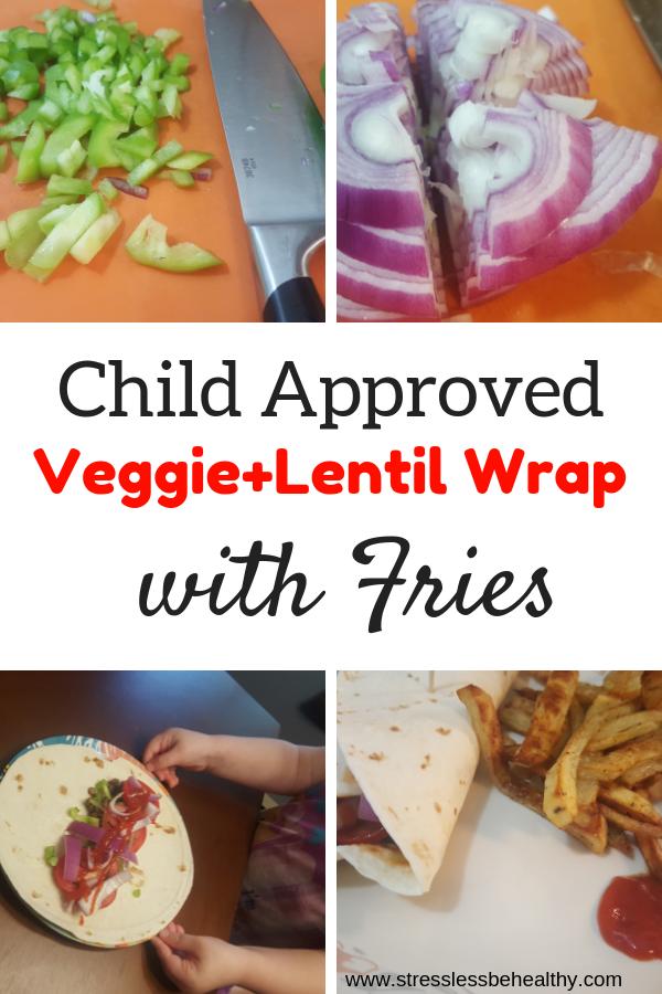 Veggie And Lentil Vegan Wrap Recipe With Fries
