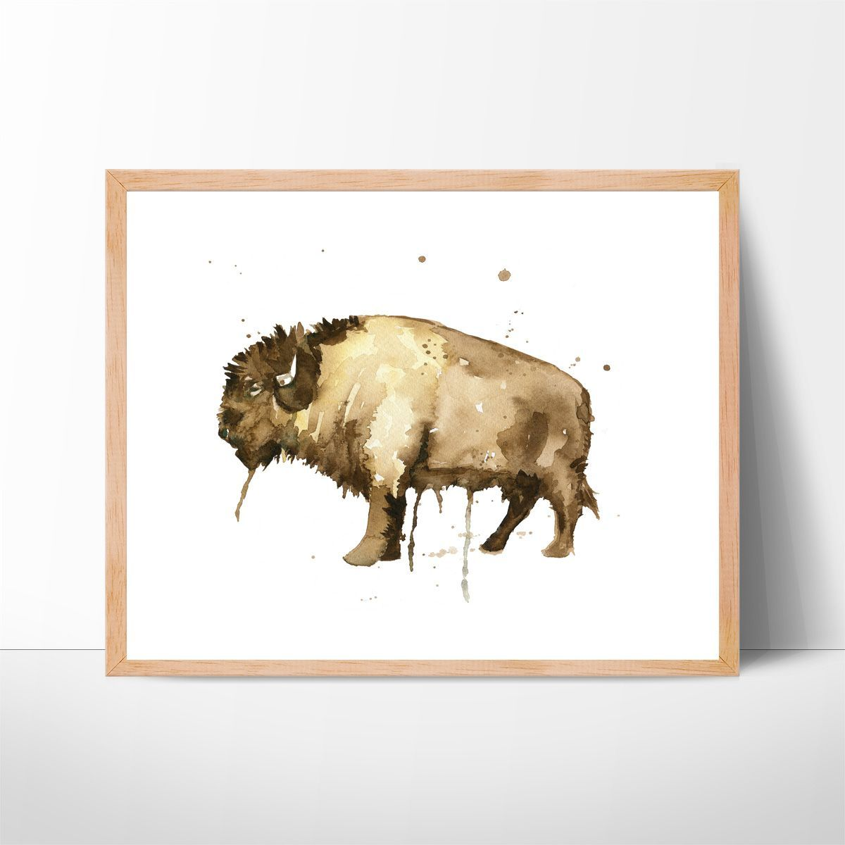 Bison Watercolor Art No 102 Watercolor Painting Home Decor Kitchen