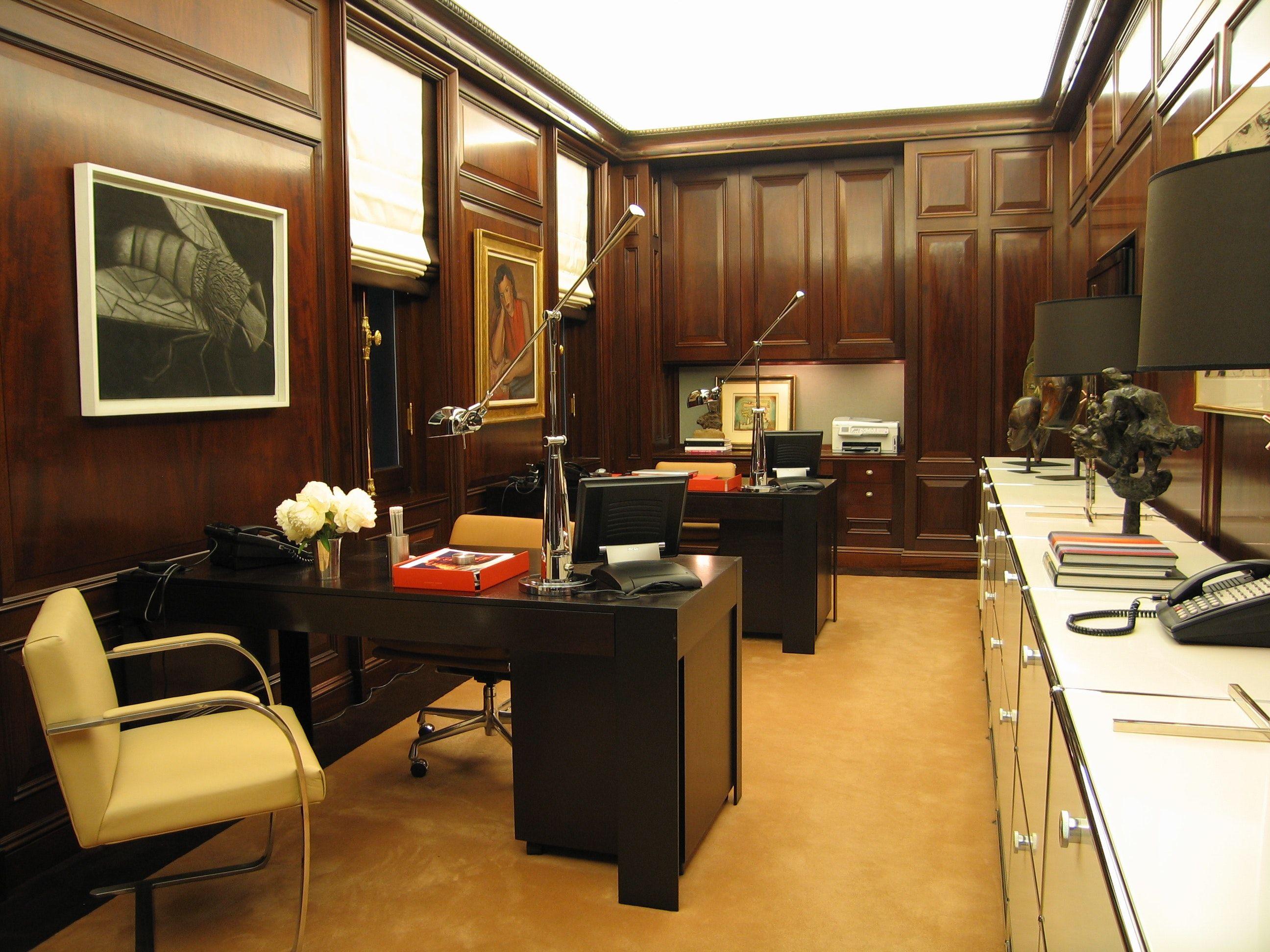 home office shared desk idea modern. Wood-Paneled Home Office With Modern Fixtures Shared Desk Idea