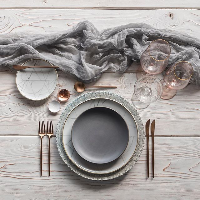This Placesetting Is To Die Gold Charger Champagne: Lace Chargers In Dusty Blue + NEW Carrara Dinnerware