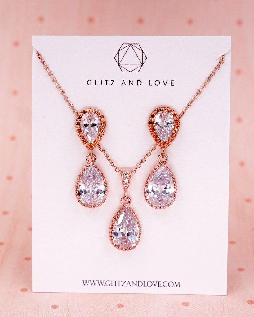 Rose Gold Cubic Zirconia Jewelry Set, Rose Gold Teardrop earrings ...
