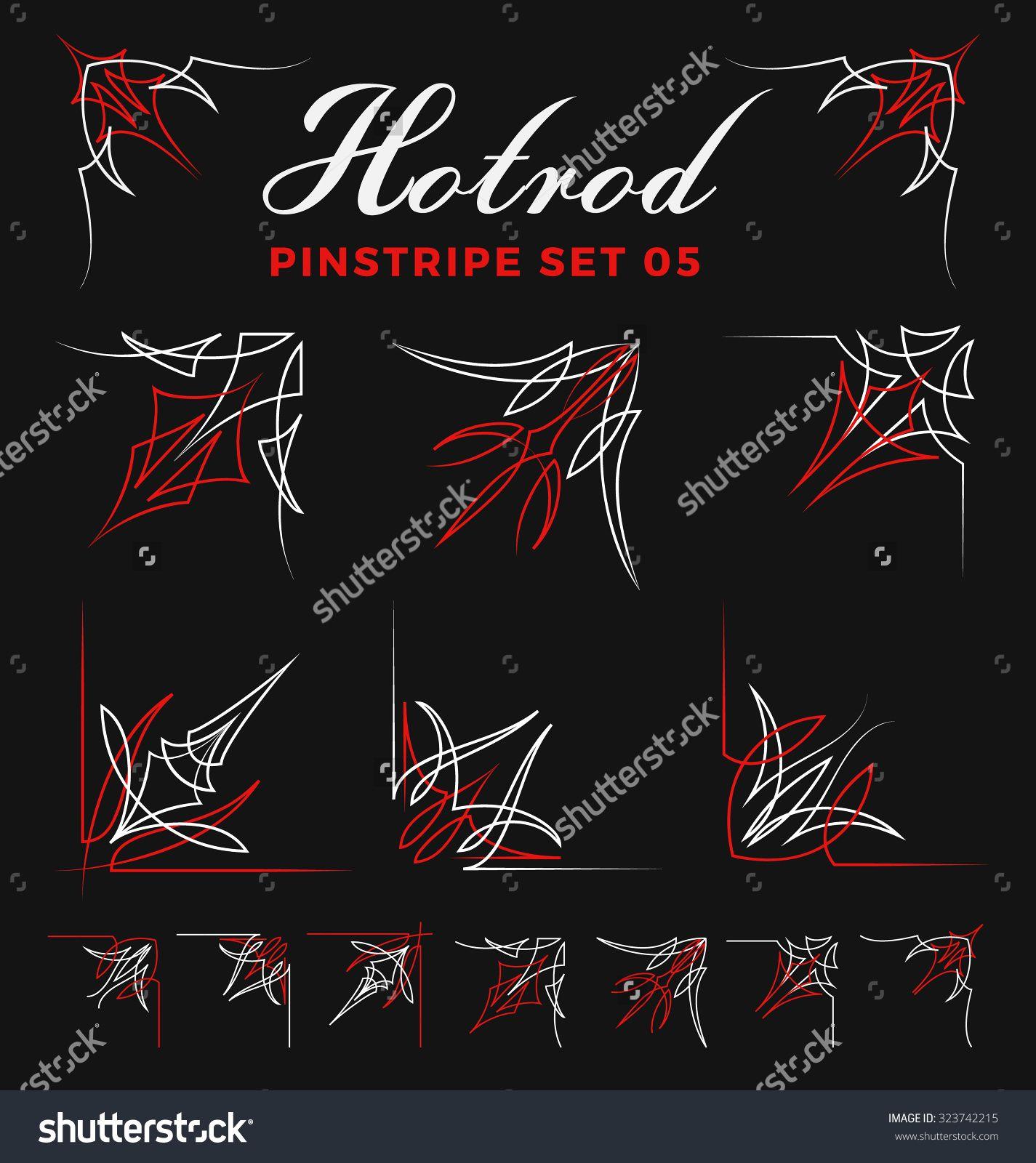 Set Of Vintage Pin Striping Corner Line Art Include Un