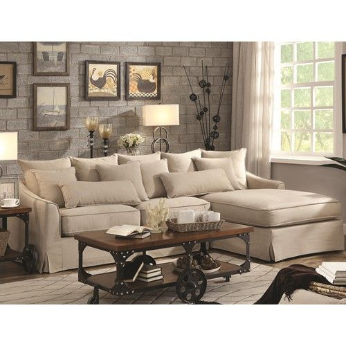 Sectional Sofa With Chaise And Feather Blend Cushions Xoom