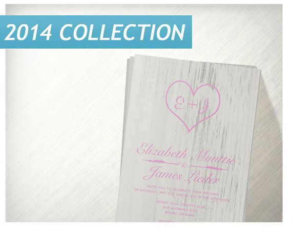 Pink White Country Wedding Invitations