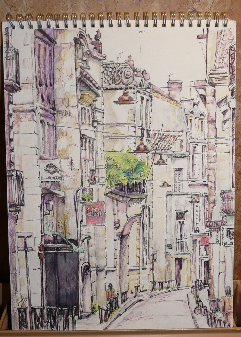 Pencil pen and water colour pencil sketch 8 3 4 inches x 11 1 2 inches