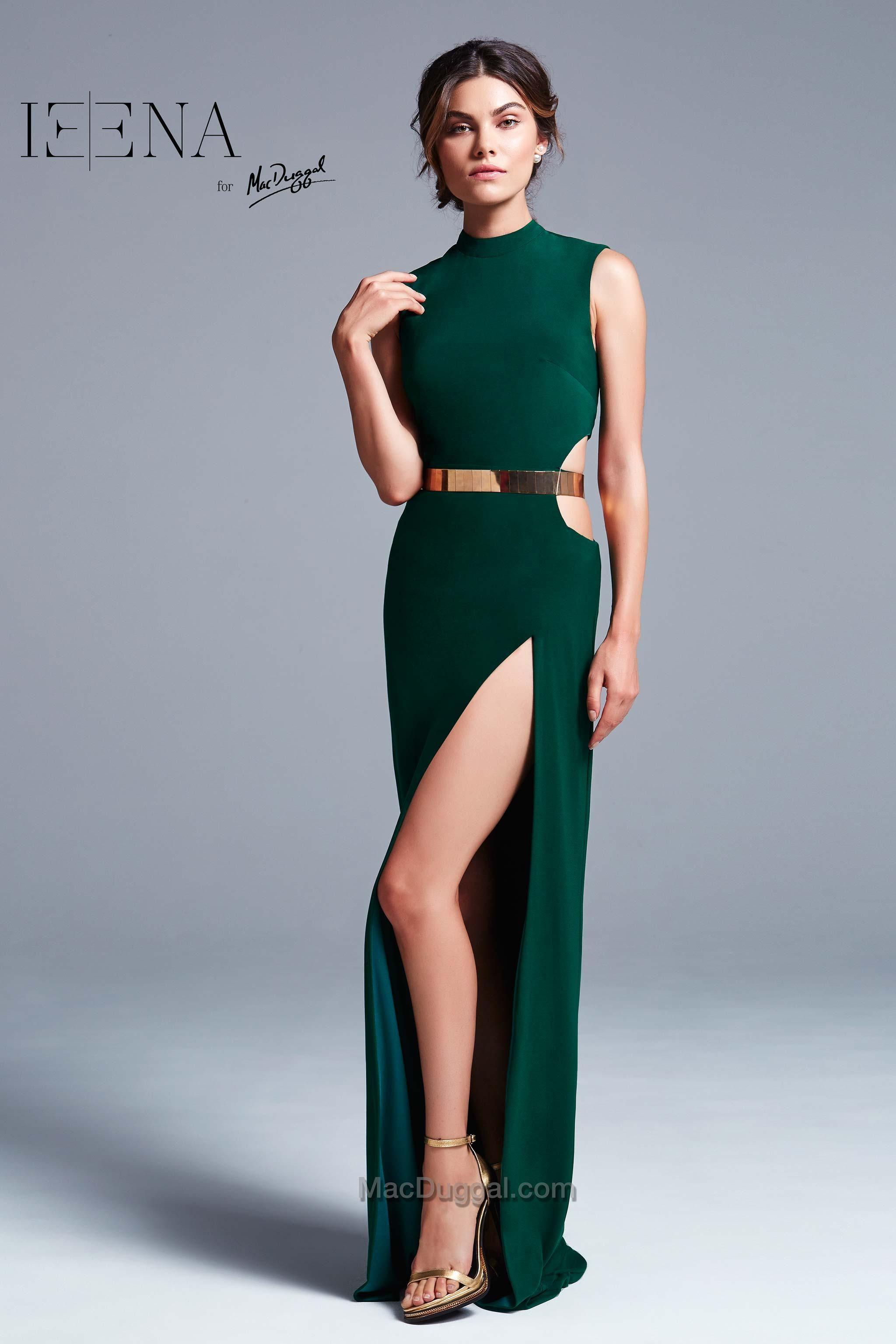 Ieena for mac duggan style emerald gown with high leg