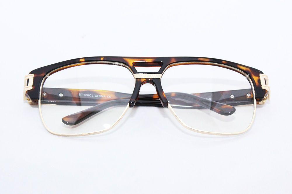 4345831e85e Men s Vintage Eye Glasses Clear lens 80 s Tortoise Metal Gold Hip Hop  Gazelle  Unbranded