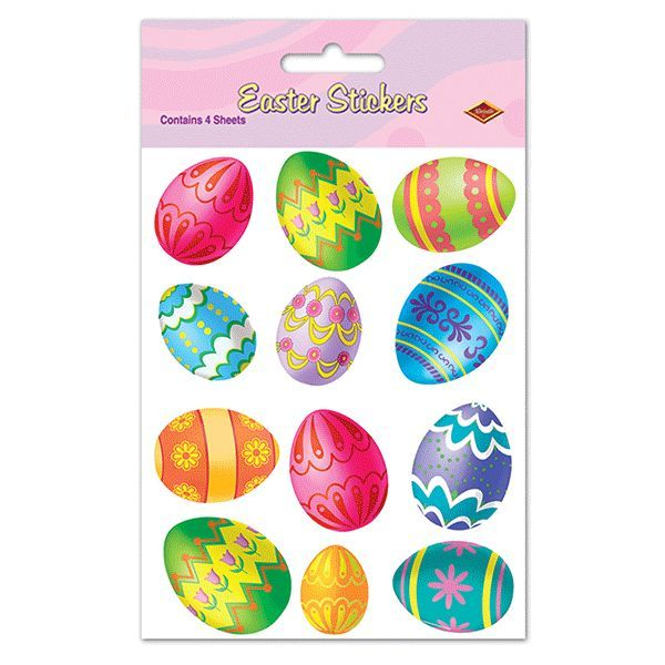 Color Bright Easter Egg Stickers 48pc | Wally's Party Factory #easter #eggs #stickers