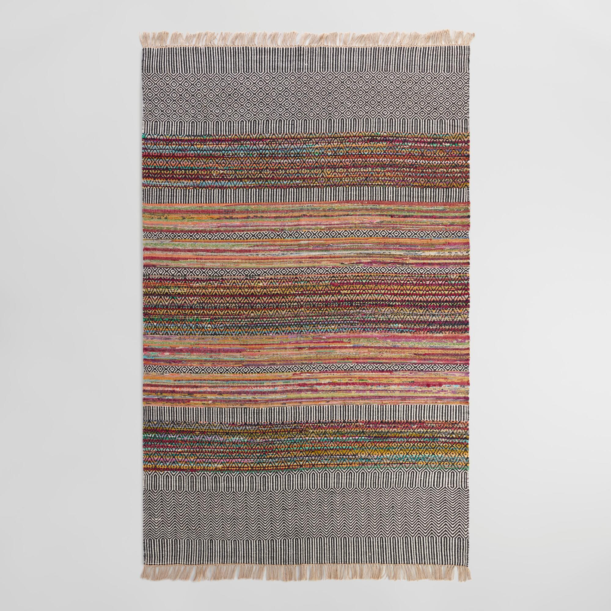An Eclectic Update To The Traditional Chindi Rug Our Exclusive Is Handwoven By Indian