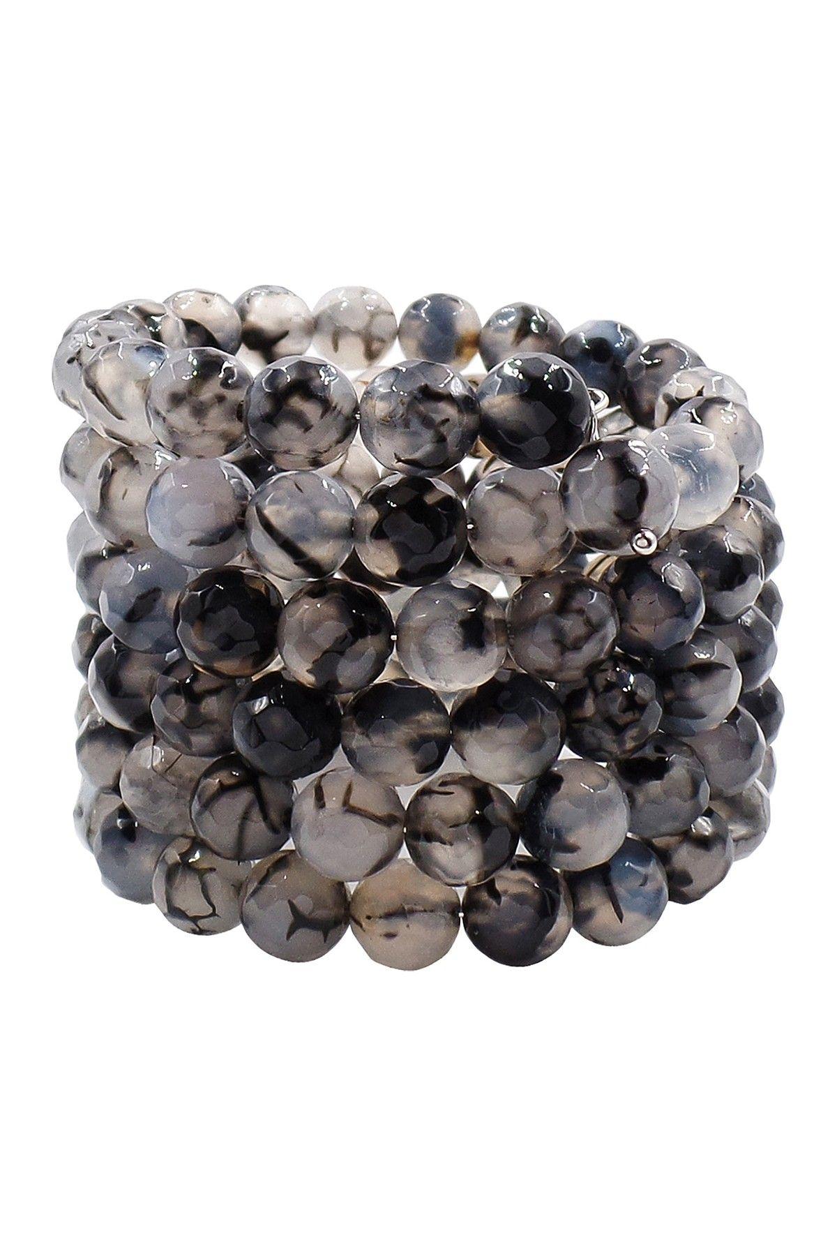 Black & White Agate Coil Wrap Bracelet