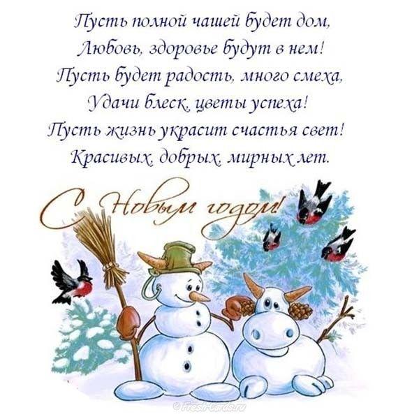 Смешное прикольное короткое поздравление с новым годом