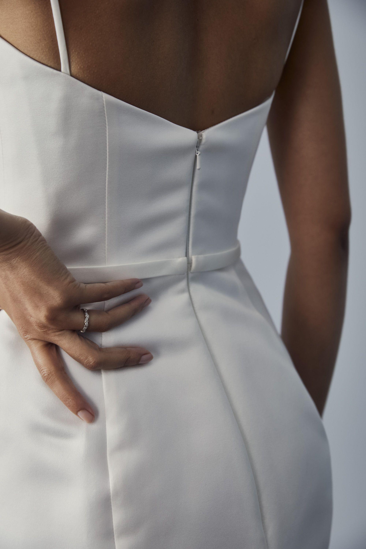 Lw163 Duchess Satin Sheath Dress Short White Dress Wedding Bridal Satin Dress Ankle Length Wedding Dress [ 3000 x 2000 Pixel ]