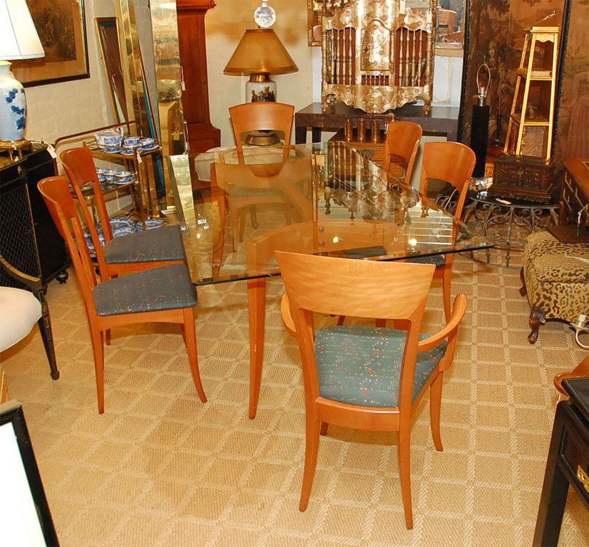 Italian Dining Table With Six Chairs BY A. SIBAU