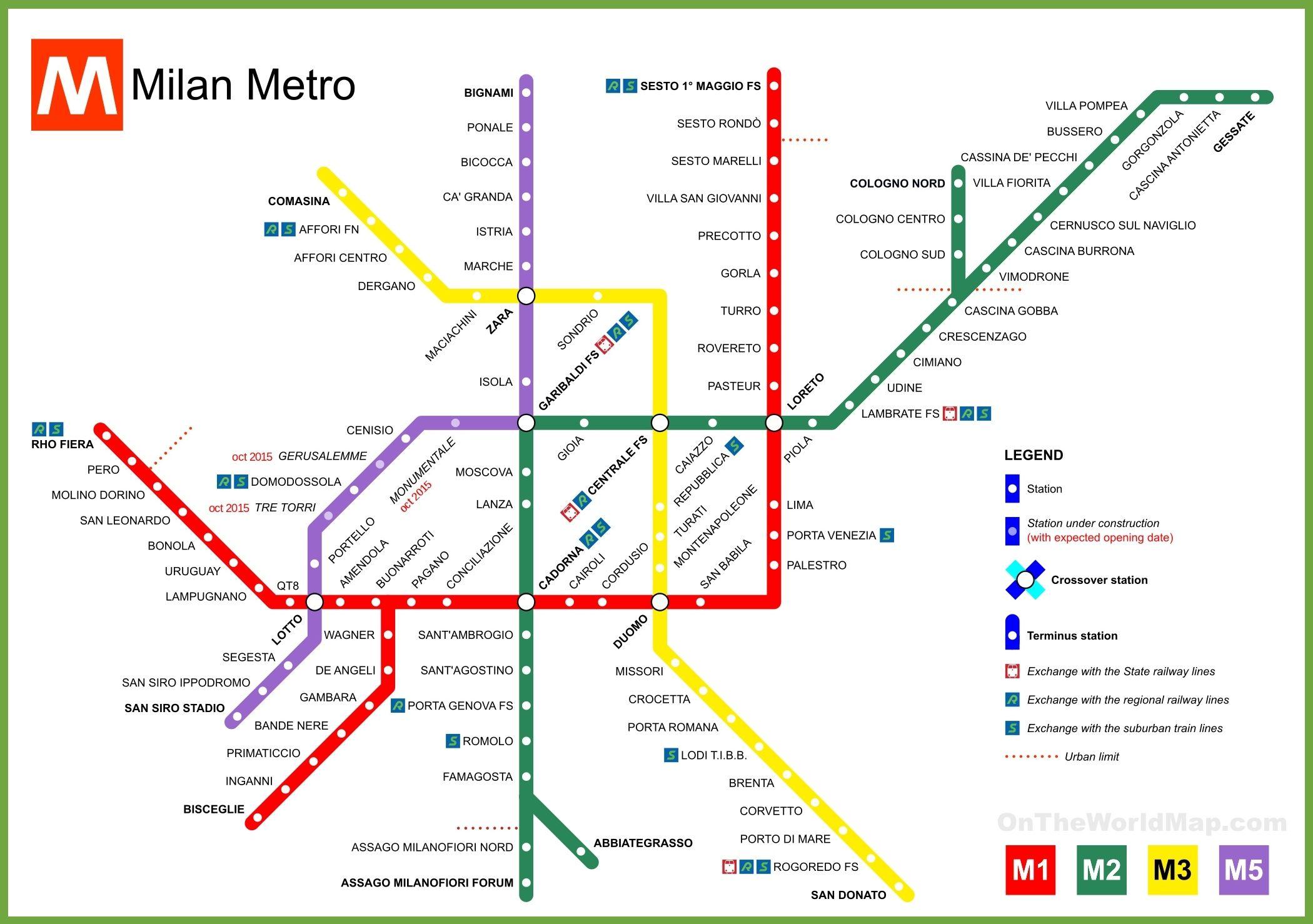 Milan Metro Map Metro Map Milan Milan Map