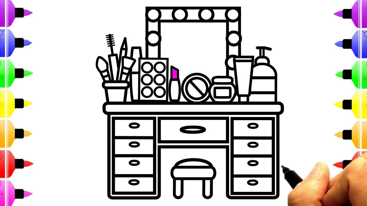 How To Draw Makeup Tool For Girls Drawing And Coloring Page For Kids Youtube Coloring Pages Makeup Tools Coloring Pages For Kids
