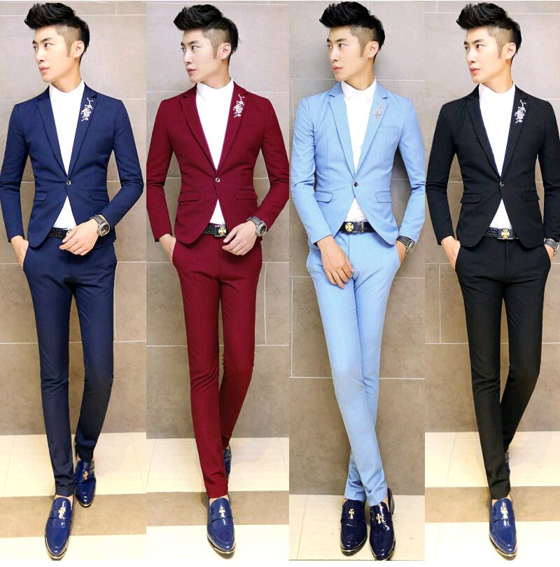 2015 Floral Embroidery Formal Colored Tuxedo Men Suit Set Mens ...