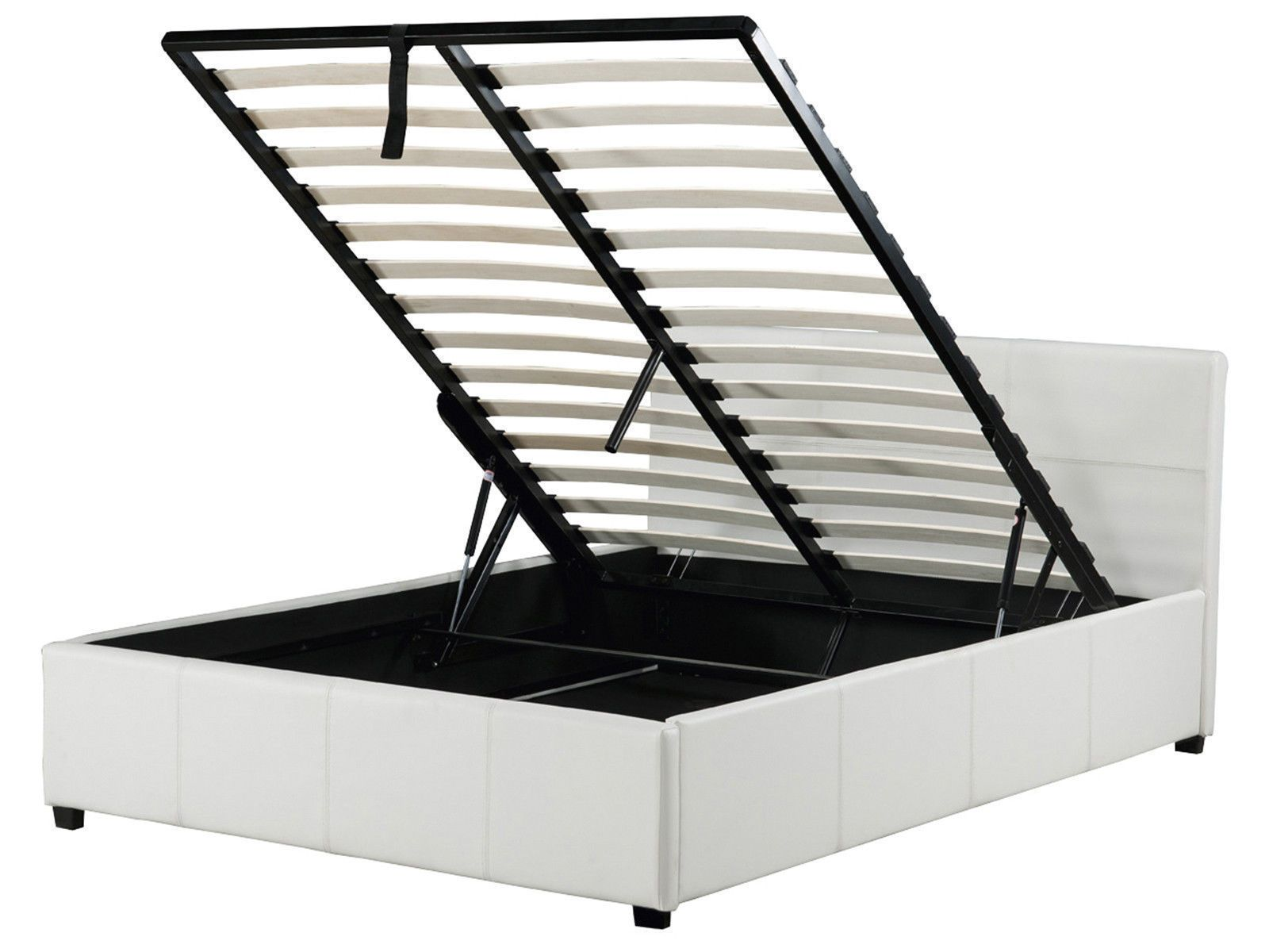 Excellent Details About White Leather Ottoman Lift Up Storage Bed In Onthecornerstone Fun Painted Chair Ideas Images Onthecornerstoneorg