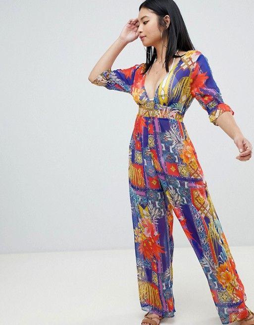 9870c7f5d99 DESIGN Petite chiffon plunge beach jumpsuit in tropical tile print ...