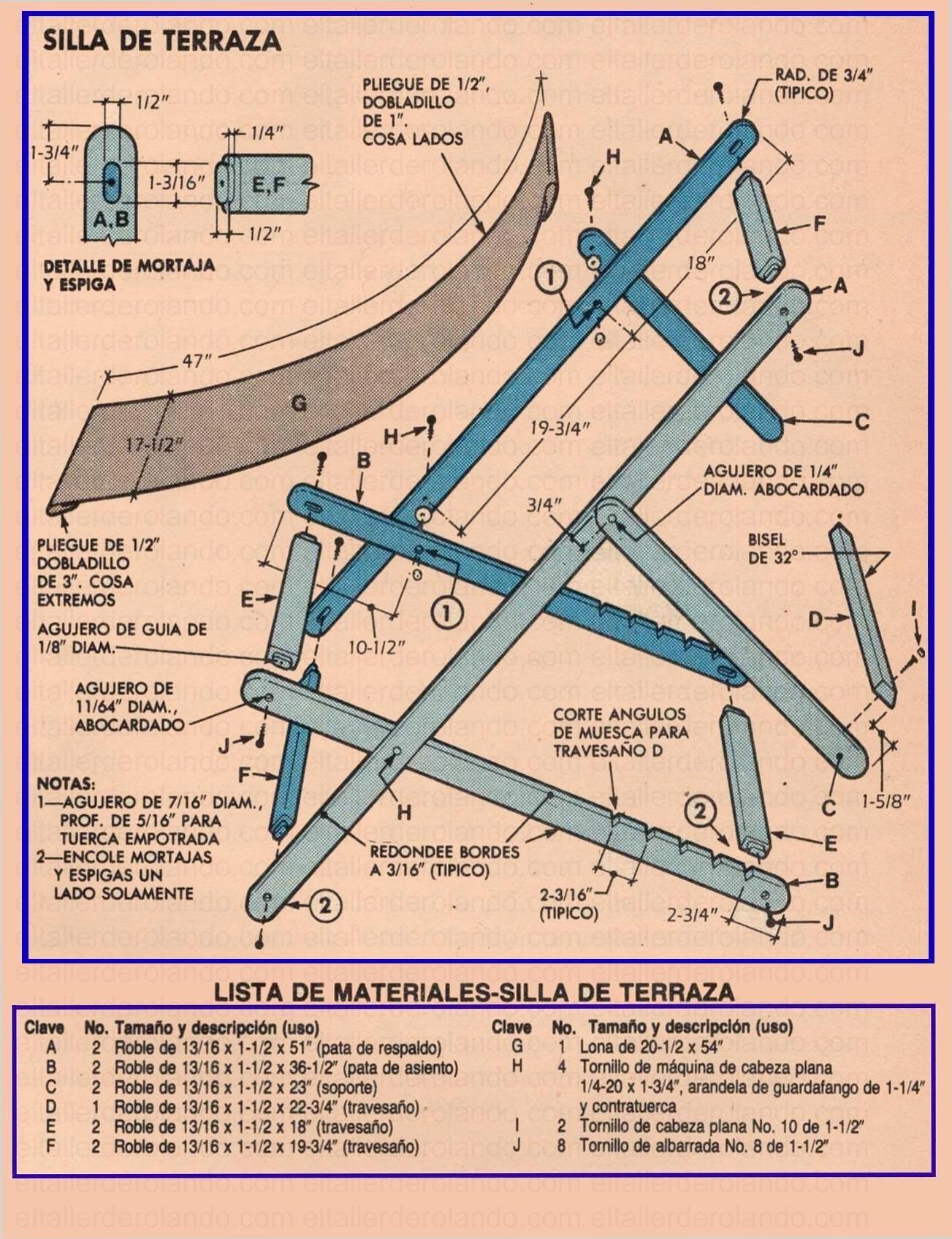 Construya sillas portatiles noviembre 1985 002a lista de for Sillas para planos
