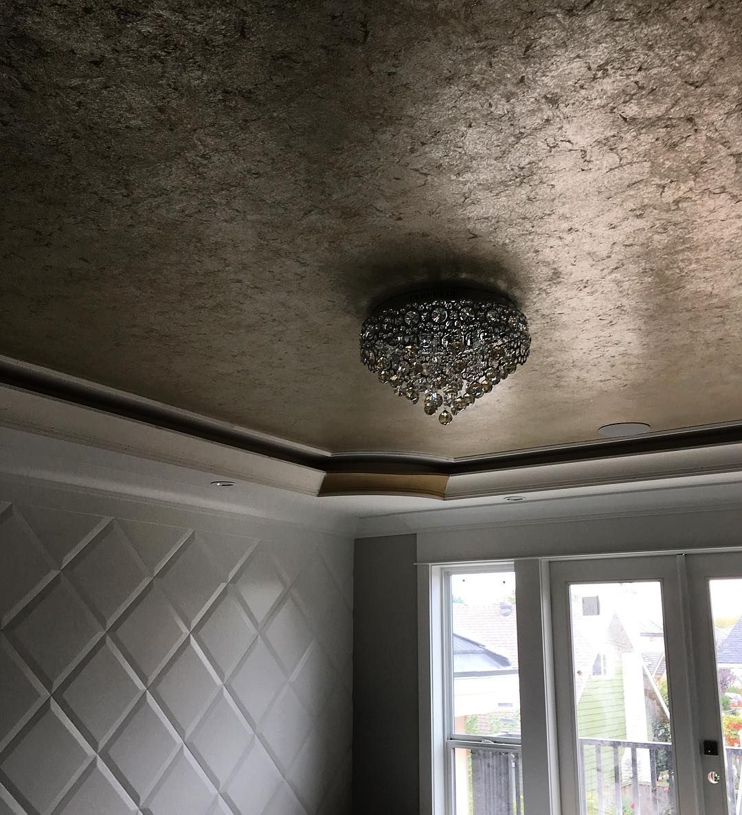 Antiqued silver gilded finish composition aluminum metal for Best paint finish for ceilings