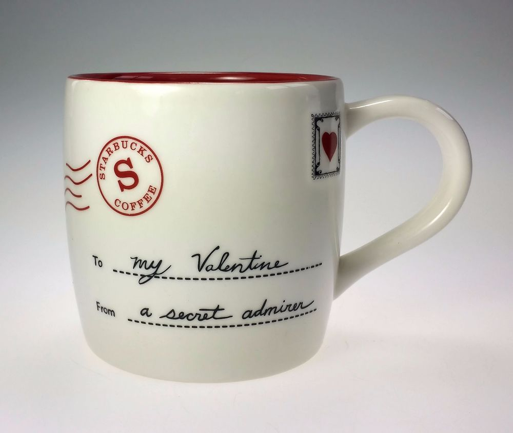 Starbucks Coffee Valentines Cup Mug 2010 Secret Admirer Love Letter Bone China #StarbucksCoffee