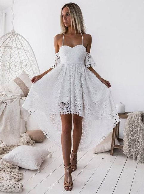 Off-Shoulder White Plissee Hollow Out Lace High Low Homecoming Dress Party Kleider verkauft über PeachGirlDress bei Storenvy  The post Off-shoulder weiß plissiert aushöhlen spitze high low homecoming dress party kleider appeared first on Mode für Frauen. #allwhiteparty