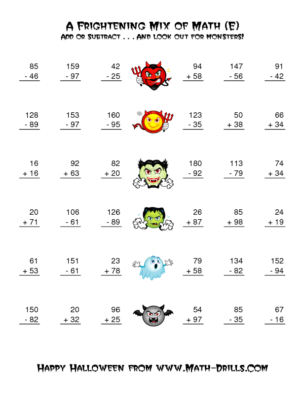 halloween math worksheet two digit addition and subtraction with monsters e - 3rd Grade Halloween Worksheets