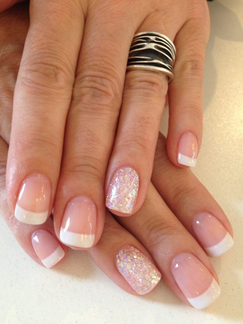 French Nägel French Nails Mit Glitzer Kosmetik Nägel French Nägel