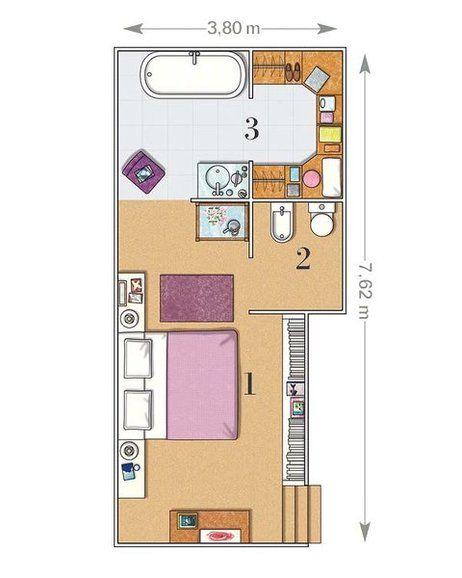 Un dormitorio de 23 m con ba o y vestidor planos for Disenar habitacion 3d online gratis