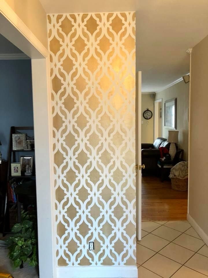 Moroccan Stenciled Accent Wall | DIY Metallic Gold Wallpaper ...