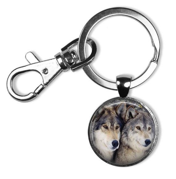 Wolves Glass Tile Photo Key Chain Wolf by DesignsofFaithandJoy