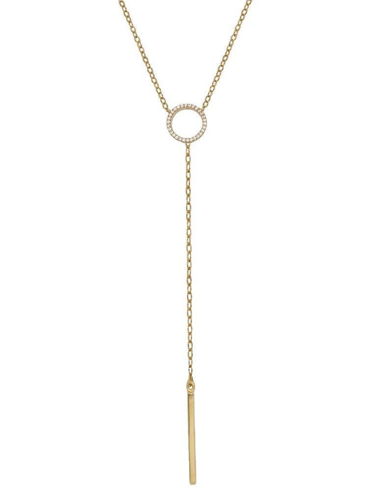 Pave Circle Lariat Necklace
