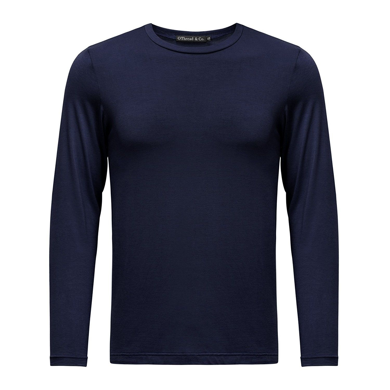 Mens Long Sleeve T-Shirt Crew Neck Plain Essential Tee Casual Lycra Boys Top