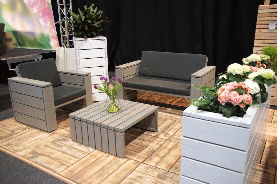 Loungemöbel Set 1 Grau Geölt mit Polster Loungemöbel Pinterest - loungemobel garten grau