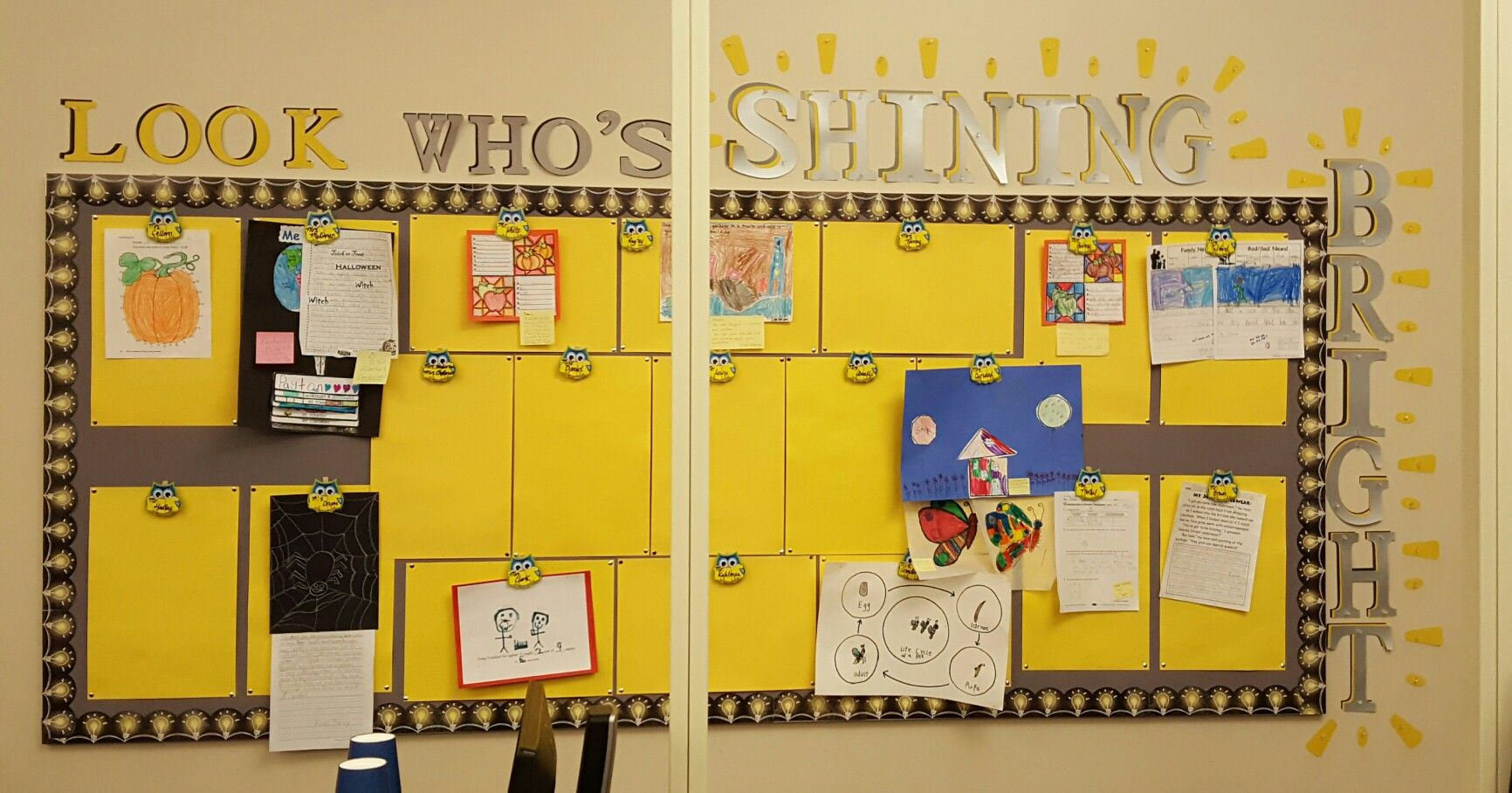 We created this board in our library to showcase student work. | My ...