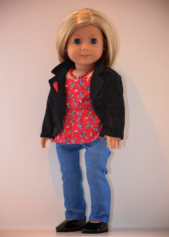 18 inch, American Girl  Doll Clothing. Active Wear Ensemble. Skinny Jeans, Peplum Top,Brushed Corduroy Jacket and Necklace.