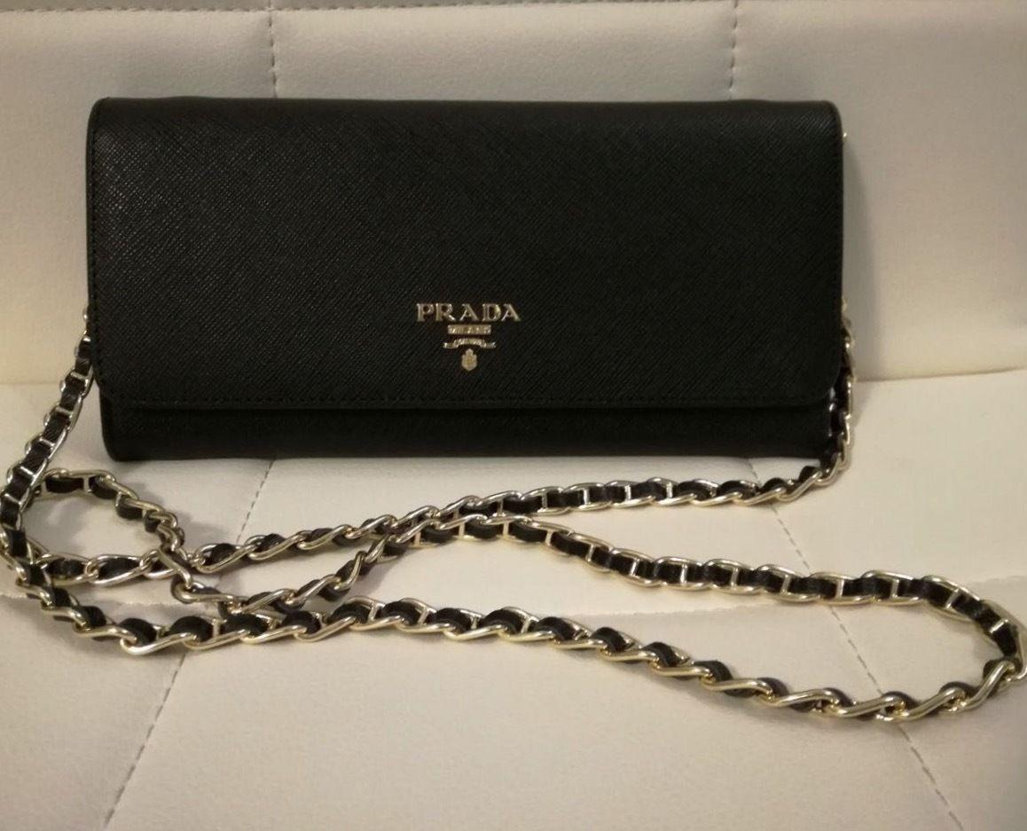 1eb29a084aa 1M1290 PRADA WALLET WOMEN S LONG CHAIN SHOULDER BAG BLACK SAFFIANO LEATHER   469.0  prada  handbag